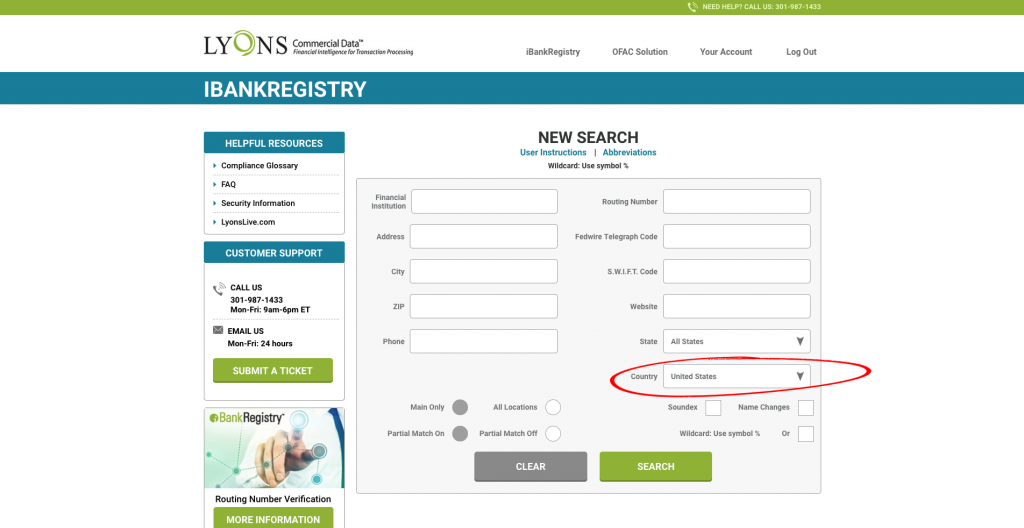 iBankRegistry Select Country